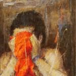 """Institut Mérieux: """"Le foulard rouge"""" ( 65cm x 81cm )"""
